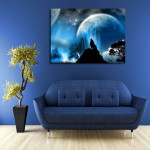 Final Fantasy Wolf In The Moonlight Wall Art Canvas