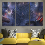 3 Panel Throne Of Iron And Dragons Wall Art Canvas