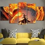 5 Panel Hearthstone Heroes Of Warcraft Dragon Fire Wall Art Canvas