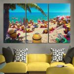 3 Panel Minions In The Beaches Wall Art Canvas