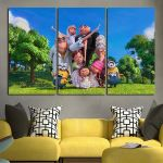 3 Panel Minions In The Garden Wall Art Canvas
