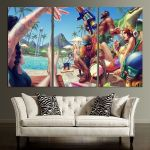 Pool Party Skins LOL Wall Art Canvas
