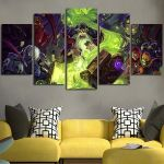 5 Panel  Hearthstone Heroes Of Warcraft Background Wall Art Canvas