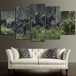 5 Panel Apes Army In The Forest Wall Art Canvas