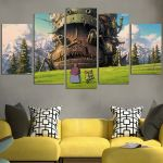 Howl's Moving Castle In The Mountain Wall Art Canvas