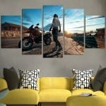 PUBG Character Standing Next To Motorcycle Wall Art Canvas