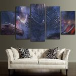 5 Panel Throne Of Iron And Dragons Wall Art Canvas