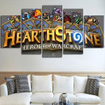 5 Panel Heroes Of Warcraft Logo Wall Art Canvas