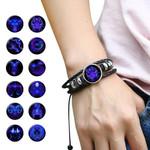 12 Constellation Zodiac Sign Luminous Leather Bracelet