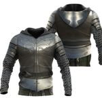 1stireland Zip Up Hoodie, 3D Chainmail Knight Medieval Armor Th00