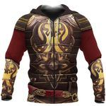 1stireland Zip Up Hoodie, 3D King Theore Armor Th00