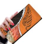 Abalone Shell Womens Wallet, Maori Silver Fern Orange K5