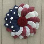 American Flag Wreath, Poly Burlap Patriotic Wreath TH5