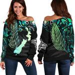 Aotearoa Paua Shell Off Shoulder Sweater Maori Silver Fern K13