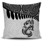 Aotearoa Pillow Cover - Maori Manaia Silver Fern White  A025