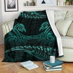 Aotearoa Premium Blanket Turquoise Maori Manaia with Silver Fern TH5