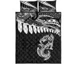Aotearoa Quilt Bed Set - Maori Manaia Silver Fern A025