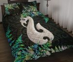 Aotearoa Quilt Bed Set Manaia Silver Fern Paua Shell TH45