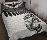 Aotearoa Quilt Bed Set Maori Manaia Silver Fern White A025