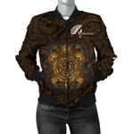 Aotearoa Women Bomber Jacket  Sliver Fern and Yellow Turtle Maori Version K13