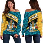 Bahamas Women Off Shoulder Sweater Sporty Style K8
