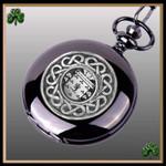 Irish Gallahger Crest Family Coat of Arms Black Pocket Watch TH5