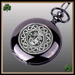 Irish Hagan Crest Family Coat of Arms Black Pocket Watch TH5