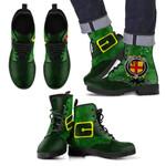 Irish Boots, Burke Family Crest Shamrock Leather Boots