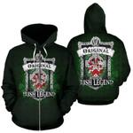 Singleton Ireland Zip Hoodie Original Irish Legend   Over 1400 Crests   Women and Men   Clothing