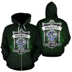 Mills Ireland Zip Hoodie Original Irish Legend | Over 1400 Crests | Women and Men | Clothing