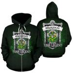 Keefe or O'Keefe Ireland Zip Hoodie Original Irish Legend | Over 1400 Crests | Women and Men | Clothing