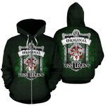 McGrane or McGrann Ireland Zip Hoodie Original Irish Legend | Over 1400 Crests | Women and Men | Clothing