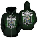 Eagar Ireland Zip Hoodie Original Irish Legend | Over 1400 Crests | Women and Men | Clothing