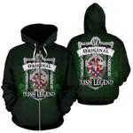 Phaire Ireland Zip Hoodie Original Irish Legend | Over 1400 Crests | Women and Men | Clothing