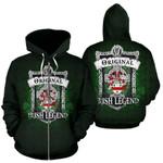 Irvine Ireland Zip Hoodie Original Irish Legend | Over 1400 Crests | Women and Men | Clothing