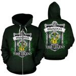 Sheridan Ireland Zip Hoodie Original Irish Legend | Over 1400 Crests | Women and Men | Clothing