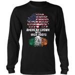 American Grown With Irish Roots T-Shirt D5 District Long Sleeve Shirt / Black S T-Shirts