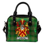 Hamline Ireland Shoulder Handbag Irish National Tartan  | Over 1400 Crests | Bags | Water-Resistant PU leather