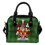 Allen Ireland Shoulder Handbag Irish National Tartan  | Over 1400 Crests | Bags | Water-Resistant PU leather