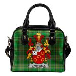 Cantwell Ireland Shoulder Handbag Irish National Tartan  | Over 1400 Crests | Bags | Water-Resistant PU leather
