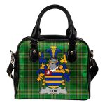 Cox Ireland Shoulder Handbag Irish National Tartan  | Over 1400 Crests | Bags | Water-Resistant PU leather