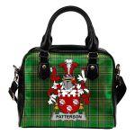 Patterson Ireland Shoulder Handbag Irish National Tartan  | Over 1400 Crests | Bags | Water-Resistant PU leather