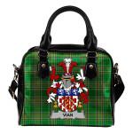 Vian Ireland Shoulder Handbag Irish National Tartan  | Over 1400 Crests | Bags | Water-Resistant PU leather