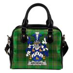 Archdall Ireland Shoulder Handbag Irish National Tartan  | Over 1400 Crests | Bags | Water-Resistant PU leather
