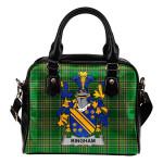 Bingham Ireland Shoulder Handbag Irish National Tartan  | Over 1400 Crests | Bags | Water-Resistant PU leather