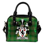 Crean or O'Crean Ireland Shoulder Handbag Irish National Tartan  | Over 1400 Crests | Bags | Water-Resistant PU leather