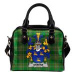 Greene Ireland Shoulder Handbag Irish National Tartan  | Over 1400 Crests | Bags | Water-Resistant PU leather