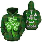 Quarles Family Crest Ireland National Tartan Kiss Me I'm Irish Hoodie