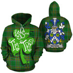 Waters Family Crest Ireland National Tartan Kiss Me I'm Irish Hoodie