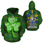 Acotes Family Crest Ireland National Tartan Kiss Me I'm Irish Hoodie